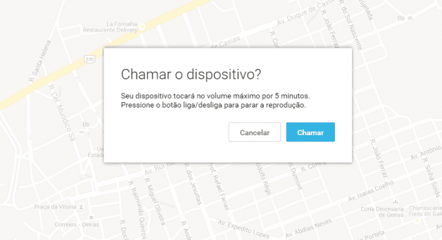 Interface do recurso Android Device Manager para localizar o aparelho perdido com toque do celular (Foto: Reprodução/Erenito Junior)